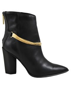 Carrano Leather Ankle Bootie w/ Chain - Black
