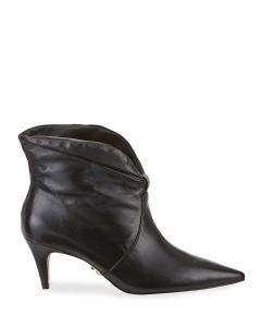 Carrano Leah Slouchy Leather Kitten-Heel Booties - Black